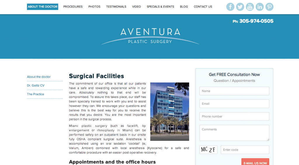 Aventura Plastic Surgery WordPress Development