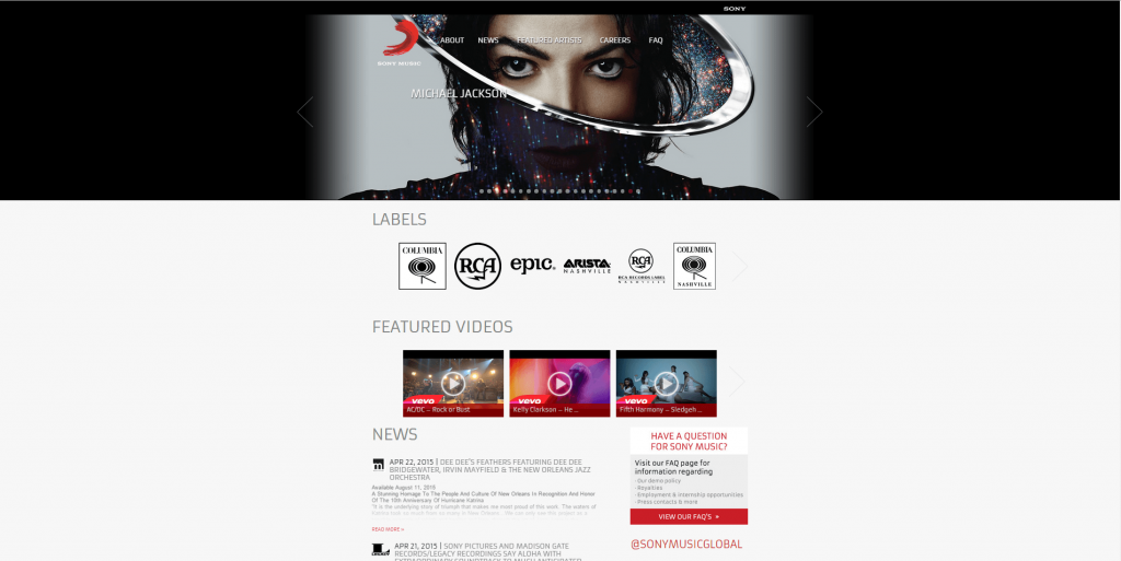 WordPress used as a CMS for Sony Music