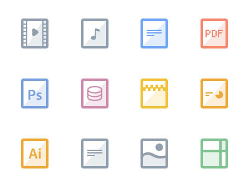 Web Design Flat Files Icons