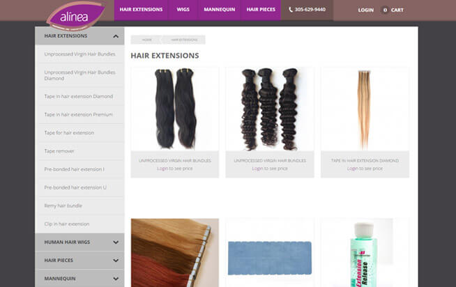 Alinea Hair Category page