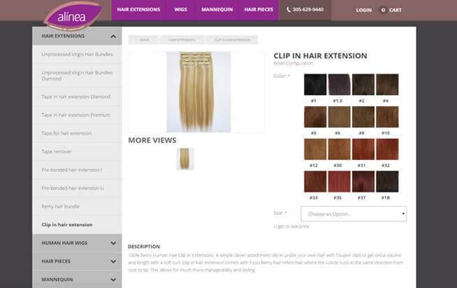 Alinea Hair product page