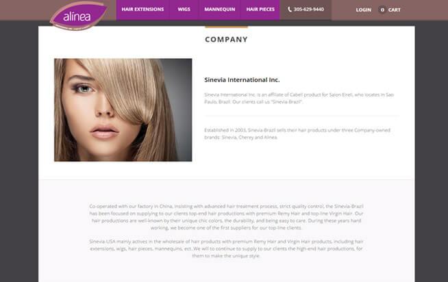 Alinea Hair Company page