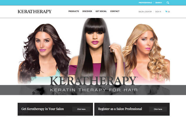 Beauty Products Website Design - Keratherapy Homepage