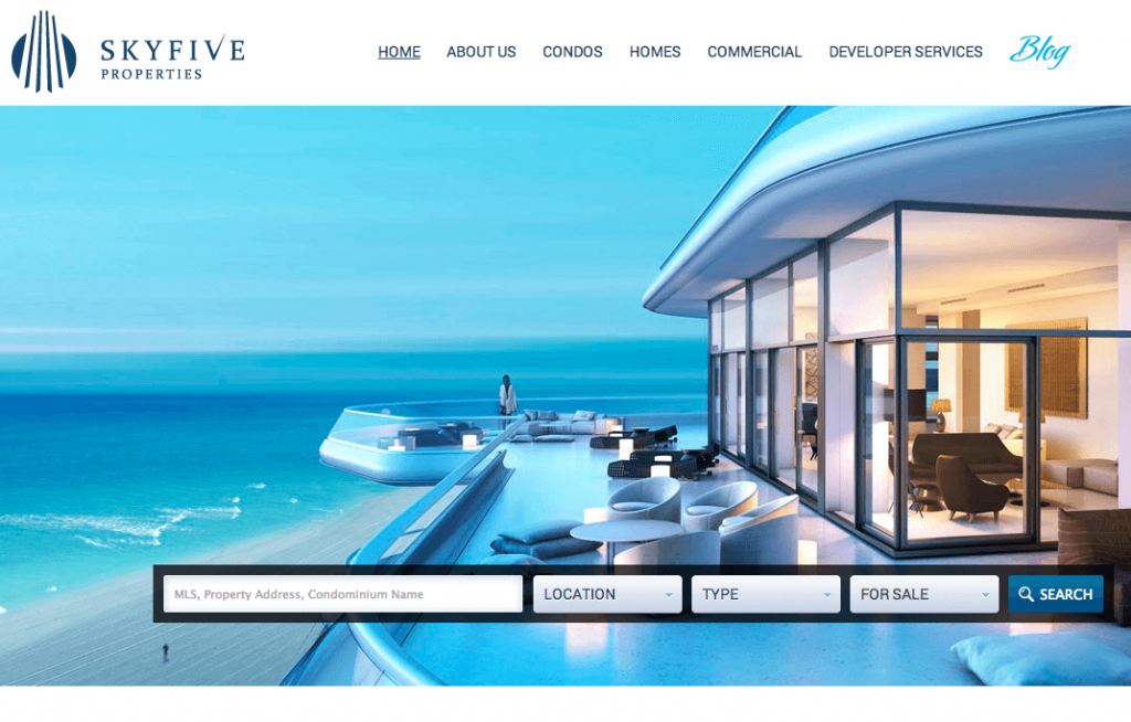 Our WordPress Design Team Creates Custom Real Estate Site for Sky Five Properties