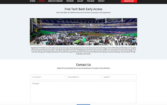tiger-direct-conference-wordpress-web-design-miami-early-access