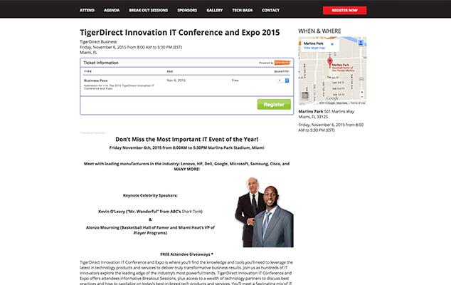 tiger-direct-conference-wordpress-web-design-miami-register