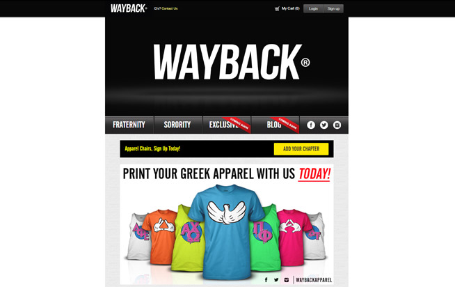 Wayback EDM Apparel website