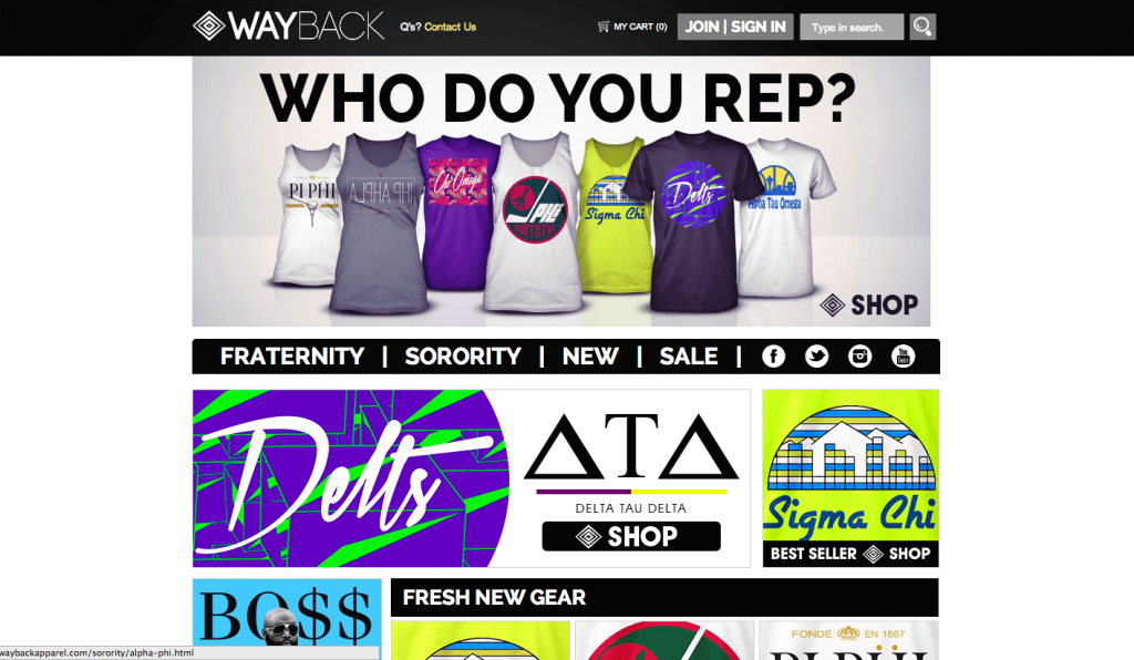 WordPress Design Meets Fraternity/Sorority Apparel Showcase: Wayback Apparel